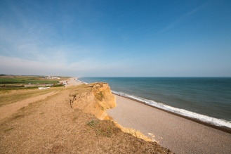 Weybourne Beach from the top of the cliffs where the sandmartins were nesting.