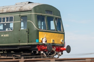 "One end of a British Rail class 101 ""diesel multiple unit"" train. A DMU is two units with built in engines rather than an engine pulling carriages. (Photos from National Trust Sheringham Park.)"