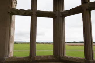 View across the countryside from the only part of the Lyveden New Bield garden lodge that has a floor.