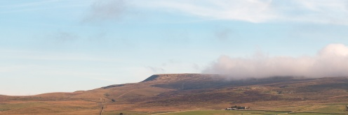 Low cloud around Fountains Fell, view from the road to Malham Tarn.
