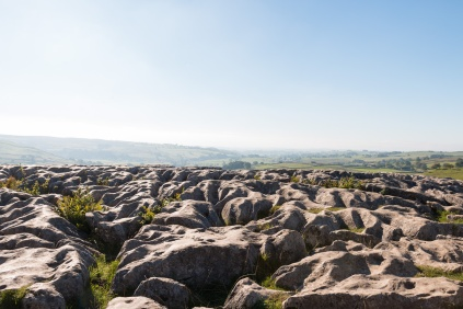 Looking out across the limestone pavement at the top of Malham Cove. Photos taken at National Trust Malham Cove.