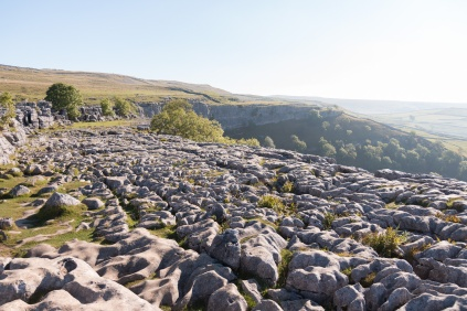 Looking across the top of Malham Cove from the end nearest the steps. Photos taken at National Trust Malham Cove.