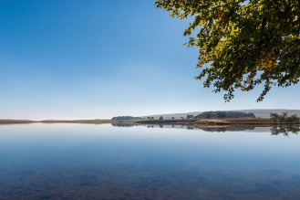 Sunlit trees overhanging water so still it looked like a mirror. Photos from Malham Tarn in North Yorkshire.