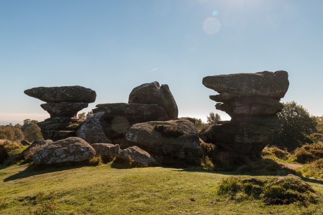 Some of the rock formations at Brimham have names, this one is the Blacksmith's Anvil. Photos of the rock formations at National Trust Brimham Rocks in North Yorkshire.