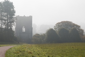 The tower of Fountains Abbey, looming out of the mist. Photos from National Trust Fountains Abbey and Studley Royal Water Garden, in North Yorkshire.