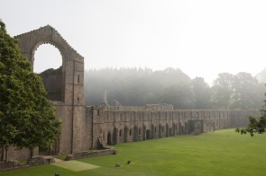 Ruins of Fountains Abbey, shrouded in mist. Photos from National Trust Fountains Abbey and Studley Royal Water Garden, in North Yorkshire.