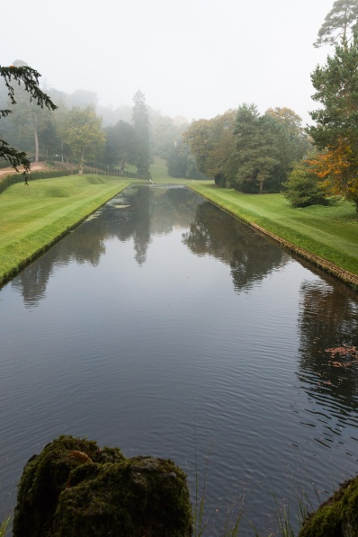 Looking down the water gardens from the rustic bridge. Photos from National Trust Fountains Abbey and Studley Royal Water Garden, in North Yorkshire.