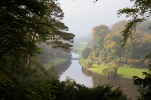 """The """"surprise view"""" from Anne Boleyn's Seat. The name is because you can see the abbey in the distance, although not so much on this day due to the mist! Photos from National Trust Fountains Abbey and Studley Royal Water Garden, in North Yorkshire."""
