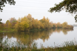 Autumn colours from the other side of the lake, reflected in the water. Photos from Wildlife Trusts Titchmarsh Nature Reserve in Northamptonshire, UK.