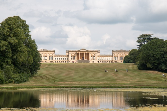 Stowe House at the top of the lawn, relfected in the Octagon Lake below. Photos from a trip to National Trust Stowe in July 2017.