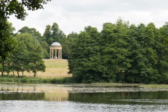 The Rotunda through the trees, and partially reflected in the Eleven Acre Lake. Photos from a trip to National Trust Stowe in July 2017.