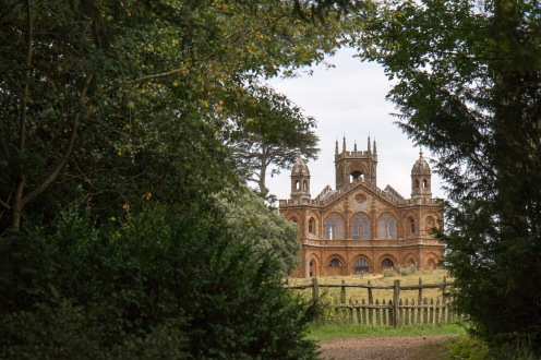 The Gothic Temple through a gap in the trees. Photos from a trip to National Trust Stowe in July 2017.