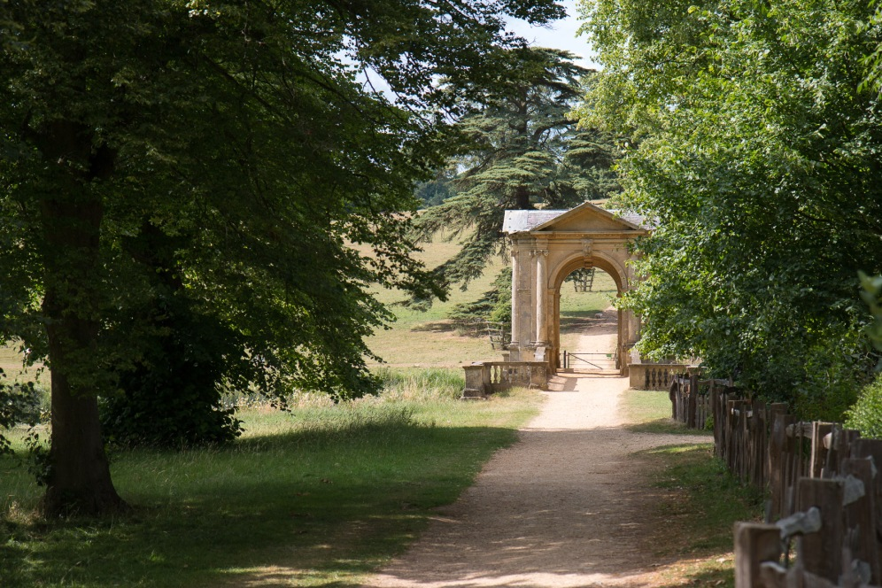 Pathway leading through the trees, over the Palladian Bridge and off toward the Gothic Temple. Photos from a trip to National Trust Stowe in July 2017.