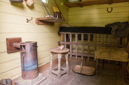 Inside the small shepherd's hut in the grounds of Mottisfont, in Hampshire.