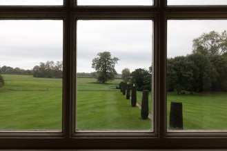 Looking out across the gardens from one of the windows in Mottisfont house.