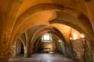 The cellarium of the original abbey at Mottisfont, preserved beneath the house.